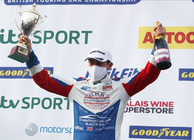 Bobby Thompson, TradePriceCars Racing BTCC with Jack Sears Trophy on podium