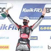Tom Ingram on the podium at Thruxton
