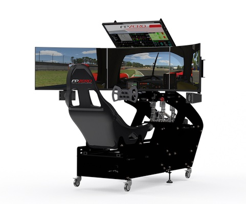 "FPZERO Pro II Formula Simulator with triple 32"" 1440p 165hz wrap around screens"